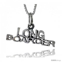 Sterling Silver LONG BOARDER Word Necklace, w/ 18 in Box Chain