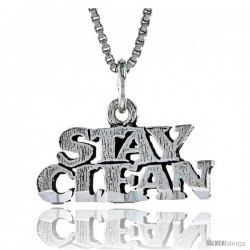 Sterling Silver STAY CLEAN Word Necklace, w/ 18 in Box Chain