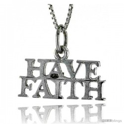 Sterling Silver HAVE FAITH Word Necklace, w/ 18 in Box Chain