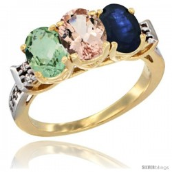 10K Yellow Gold Natural Green Amethyst, Morganite & Blue Sapphire Ring 3-Stone Oval 7x5 mm Diamond Accent