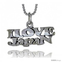 Sterling Silver I LOVE JAPAN Word Necklace, w/ 18 in Box Chain