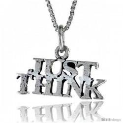 Sterling Silver JUST THINK Word Necklace, w/ 18 in Box Chain