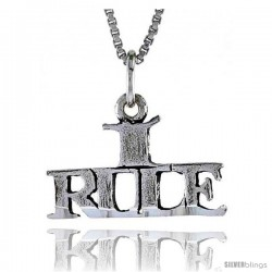 Sterling Silver I RULE Word Necklace, w/ 18 in Box Chain