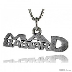 Sterling Silver MAD BASTARD Word Necklace, w/ 18 in Box Chain