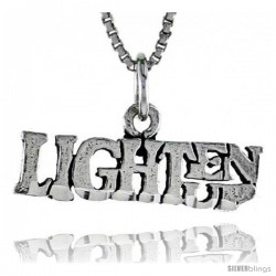 Sterling Silver LIGHTEN UP Word Necklace, w/ 18 in Box Chain