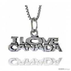 Sterling Silver I LOVE CANADA Word Necklace, w/ 18 in Box Chain