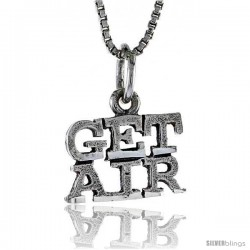 Sterling Silver GET AIR Word Necklace, w/ 18 in Box Chain
