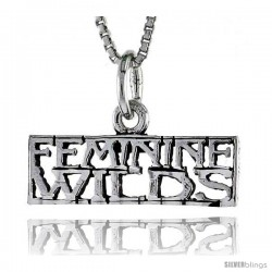 Sterling Silver FEMININE WILDS Word Necklace, w/ 18 in Box Chain