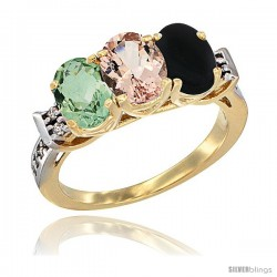 10K Yellow Gold Natural Green Amethyst, Morganite & Black Onyx Ring 3-Stone Oval 7x5 mm Diamond Accent