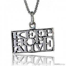 Sterling Silver KEEP HOPE ALIVE Word Necklace, w/ 18 in Box Chain