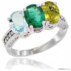 14K White Gold Natural Aquamarine, Emerald & Lemon Quartz Ring 3-Stone Oval 7x5 mm Diamond Accent