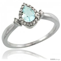 14k White Gold Diamond Aquamarine Ring 0.33 ct Tear Drop 6x4 Stone 3/8 in wide