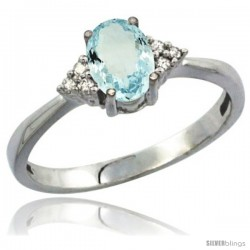 14k White Gold Ladies Natural Aquamarine Ring oval 7x5 Stone Diamond Accent