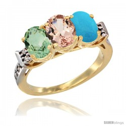 10K Yellow Gold Natural Green Amethyst, Morganite & Turquoise Ring 3-Stone Oval 7x5 mm Diamond Accent