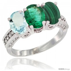 14K White Gold Natural Aquamarine, Emerald & Malachite Ring 3-Stone Oval 7x5 mm Diamond Accent