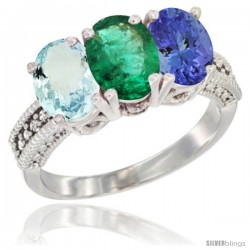 14K White Gold Natural Aquamarine, Emerald & Tanzanite Ring 3-Stone Oval 7x5 mm Diamond Accent