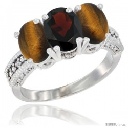 10K White Gold Natural Garnet & Tiger Eye Ring 3-Stone Oval 7x5 mm Diamond Accent