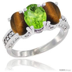 10K White Gold Natural Peridot & Tiger Eye Ring 3-Stone Oval 7x5 mm Diamond Accent