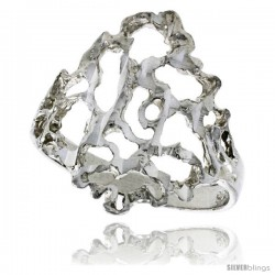 Sterling Silver Freeform Ring Polished finish 3/4 in wide -Style Ffr630