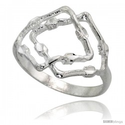 Sterling Silver Freeform Ring Polished finish 5/8 in wide -Style Ffr636