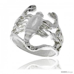 Sterling Silver Scorpion Ring Polished finish 11/16 in wide