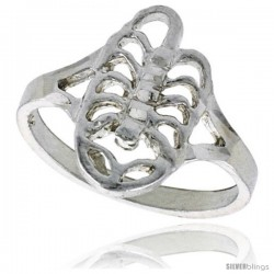 Sterling Silver Scorpion Ring Polished finish 5/8 in wide