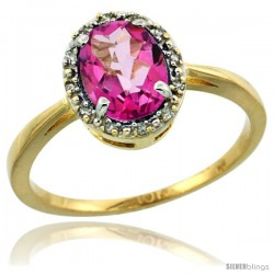 10k Yellow Gold Diamond Halo Pink Topaz Ring 1.2 ct Oval Stone 8x6 mm, 1/2 in wide