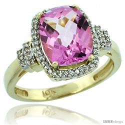 10k Yellow Gold Diamond Halo Pink Topaz Ring 2.4 ct Cushion Cut 9x7 mm, 1/2 in wide