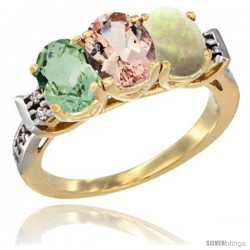 10K Yellow Gold Natural Green Amethyst, Morganite & Opal Ring 3-Stone Oval 7x5 mm Diamond Accent