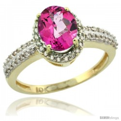 10k Yellow Gold Diamond Halo Pink Topaz Ring 1.2 ct Oval Stone 8x6 mm, 3/8 in wide