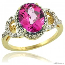 10k Yellow Gold Diamond Halo Pink Topaz Ring 2.4 ct Oval Stone 10x8 mm, 1/2 in wide