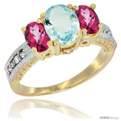 10K Yellow Gold Ladies Oval Natural Aquamarine 3-Stone Ring with Pink Topaz Sides Diamond Accent