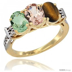 10K Yellow Gold Natural Green Amethyst, Morganite & Tiger Eye Ring 3-Stone Oval 7x5 mm Diamond Accent