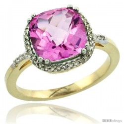 10k Yellow Gold Diamond Pink Topaz Ring 3.05 ct Cushion Cut 9x9 mm, 1/2 in wide