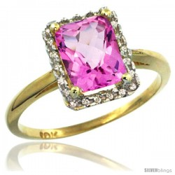 10k Yellow Gold Diamond Pink Topaz Ring 1.6 ct Emerald Shape 8x6 mm, 1/2 in wide