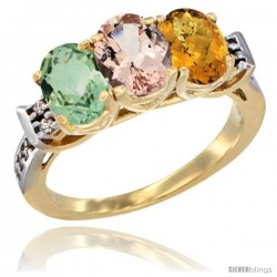 10K Yellow Gold Natural Green Amethyst, Morganite & Whisky Quartz Ring 3-Stone Oval 7x5 mm Diamond Accent
