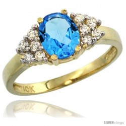 14k Yellow Gold Ladies Natural Swiss Blue Topaz Ring oval 8x6 Stone Diamond Accent