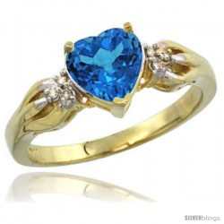 14k Yellow Gold Ladies Natural Swiss Blue Topaz ring Heart shape 7x7 Stone Diamond Accent