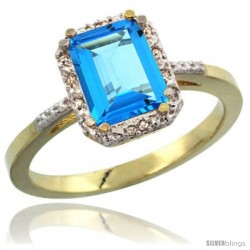 14k Yellow Gold Ladies Natural Swiss Blue Topaz Ring Emerald-shape 8x6 Stone Diamond Accent