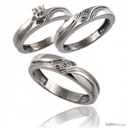 10k White Gold 3-Pc. Trio His (5mm) & Hers (4mm) Diamond Wedding Ring Band Set, w/ 0.062 Carat Brilliant Cut Diamonds