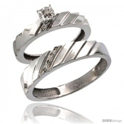 10k White Gold 2-Pc Diamond Ring Set (4mm Engagement Ring & 5mm Man's Wedding Band), w/ 0.056 Carat Brilliant Cut Diamonds
