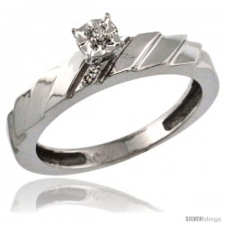 10k White Gold Diamond Engagement Ring w/ 0.03 Carat Brilliant Cut Diamonds, 5/32 in. (4mm) wide -Style 10w152er