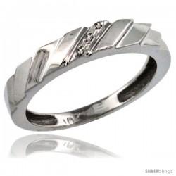 10k White Gold Ladies' Diamond Wedding Ring Band, w/ 0.019 Carat Brilliant Cut Diamonds, 5/32 in. (4mm) wide