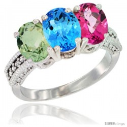 14K White Gold Natural Green Amethyst, Swiss Blue Topaz & Pink Topaz Ring 3-Stone 7x5 mm Oval Diamond Accent