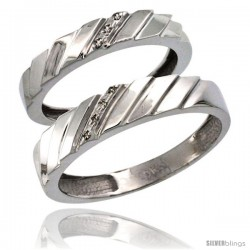 10k White Gold 2-Pc His (5mm) & Hers (4mm) Diamond Wedding Ring Band Set w/ 0.045 Carat Brilliant Cut Diamonds