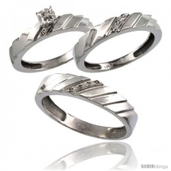 10k White Gold 3-Pc. Trio His (5mm) & Hers (4mm) Diamond Wedding Ring Band Set, w/ 0.075 Carat Brilliant Cut Diamonds
