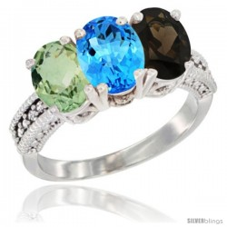 14K White Gold Natural Green Amethyst, Swiss Blue Topaz & Smoky Topaz Ring 3-Stone 7x5 mm Oval Diamond Accent
