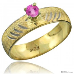10k Gold Ladies' Solitaire 0.25 Carat Pink Sapphire Engagement Ring Diamond-cut Pattern Rhodium Accent, 3/16 -Style 10y503er