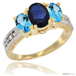 14k Yellow Gold Ladies Oval Natural Blue Sapphire 3-Stone Ring with Swiss Blue Topaz Sides Diamond Accent