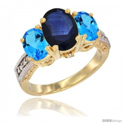 14K Yellow Gold Ladies 3-Stone Oval Natural Blue Sapphire Ring with Swiss Blue Topaz Sides Diamond Accent